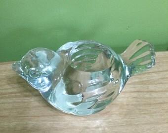 Glass bird votive candleholder