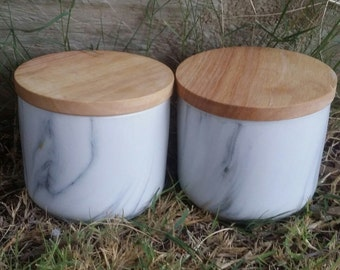Marble Candle Canisters