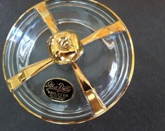 mid century modern Hollywood regency gold trimmed bowl
