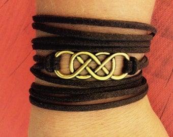 Double Infinity Wrap Bracelet brown