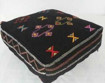 Moroccan pouf, Moroccan ottoman, Rug pouf, Vintage rug pouf, Moroccan foot stool, Vintage foot stool, Floor pillow, Moroccan square pouf