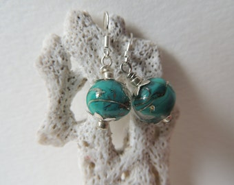 Turquoise coloured baby drop earrings