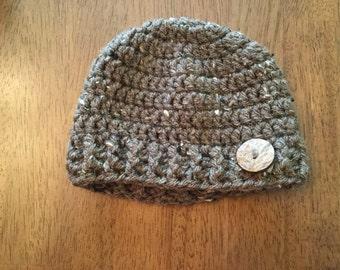 Crochet baby hat/beanie, Button accent, Photography prop, Newborn hat