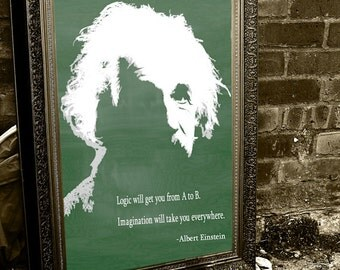 Albert Einstein on Chalkboard