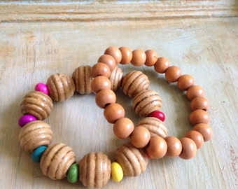 Roy G Biv wood bead bracelet set