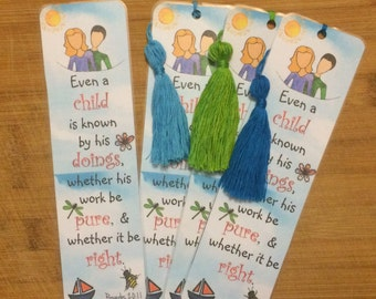 Bible Verse Bookmark - Proverbs 20:11 -  handmade WITH tassel  (stock #21) even a child is know by his doing