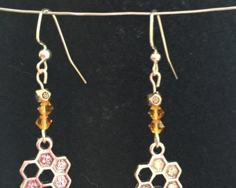 Bee and honeycomb silver dangle earrings