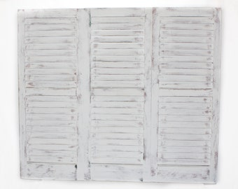 White Washed Shutters Twin Headboard