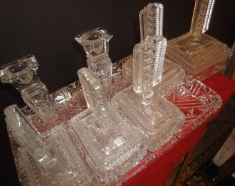 Art Deco style cut glass dressing table set