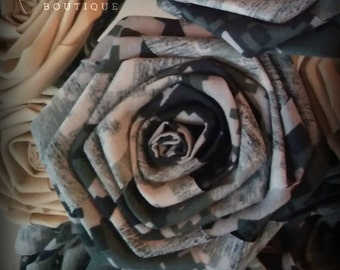 US NAVY Digital Camo Fabric Rose ,Military Wedding Bouquet, Military Fabric Bridal Bouquet, Single Stem Fabric Flower, Veteran Gift