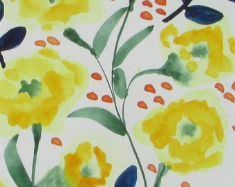 watercolor painting yellow flowers