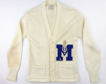1950s American Sports Center Music Treble Clef Pattern Letterman Sweater - Very Good