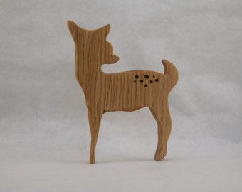 Fawn teether, wooden teether, baby deer