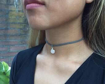 Choker Necklace | Grey & Light Pink | Handmade