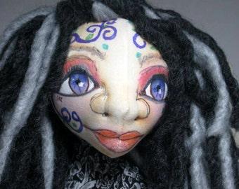 Yoga Art Doll, Wild Child Fairy Faery OOAK Cloth Art Doll, Fantasy Art Doll