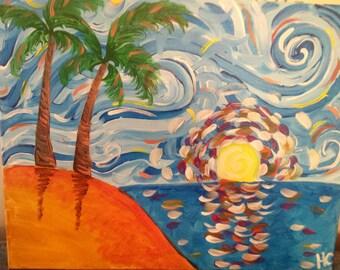 Starry Night palm tree island painting