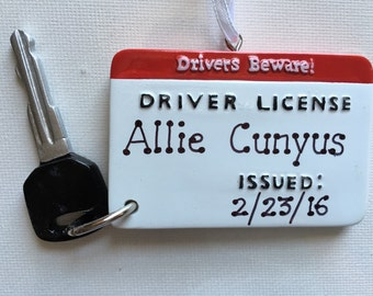 Personalized Driver License with Key Christmas Ornament, New Driver
