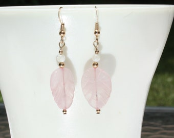 Rose Quartz Gemstone Leaf and Mother-of-Pearl Earrings. 14K Gold Filled Ear Wires and Accent Beads.