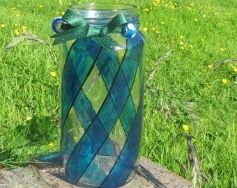 Hand painted  Teal Swirl Tea Light Jar/ Vase