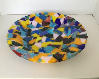 "14"" fused glass bowl -"