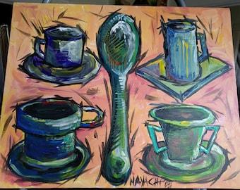Coffee for Four, Original Acrylic