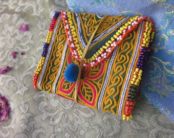 yellow  gypsy purse, indian style upcycled purse