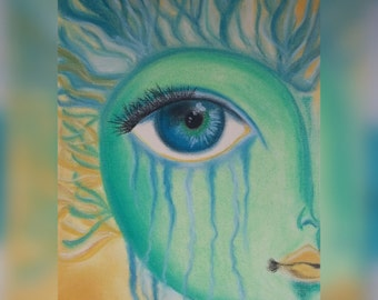 The Fantasy Face  (soft pastel drawing)