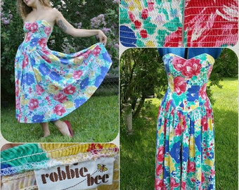 Vintage 80's sweetheart dress with drop point waist with floral print (Robbie Bee)