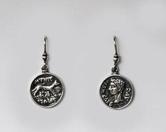 Handmade Roman Emperor Agustus Romus&Remus Sterling Silver Earrings