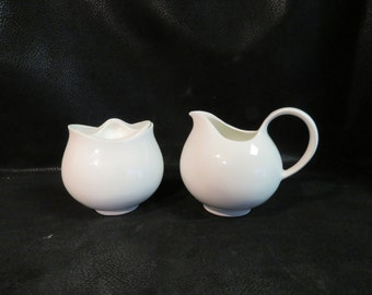 EVA ZEISEL HALLCRAFT Hi White Creamer & Sugar Bowl Set- Good Vintage Condition