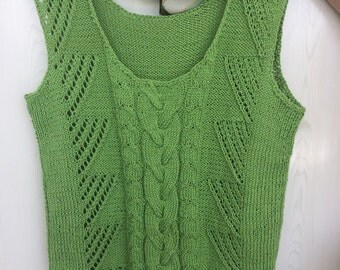 Summer top Green apple cotton tank summer vest knit top summer top beach top gift for girlfriend gift for mom loose tank top green
