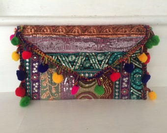 evening bag , clutch, with brocade pompoms and sequins