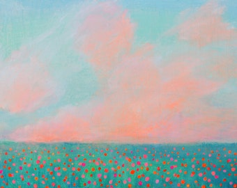 Original Acrylic Abstract Painting. Bright Flowers Field. Free shipping.