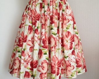 Cotton skirt. Spring tulips. XS.