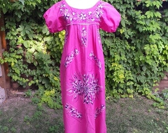 1980's traditional Mexican cotton dress - pink with flowers