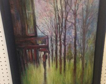 Pastel painting by Connie Glassgow. Rainy Night