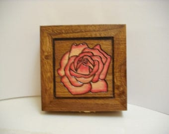 Small Wooden Pink Rose Trinket Box