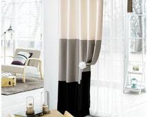 2 Panels Color Block Design Curtains, Linen Look Polyester Curtains, Color Block Drapes, Natural Home Decor, Color Block Curtains