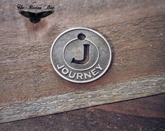 "Word Charm Pendant JOURNEY Antiqued Silver Circle Word Charm J Charm 3/4"" Charms by the Piece Inspirational Charm"