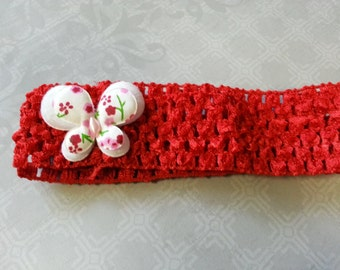 Girls crochet head band with butterfly