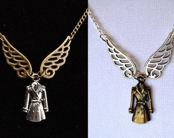 Supernatural Inspired Castiel Necklace, Angel in a Trenchcoat, 2 Color Choices