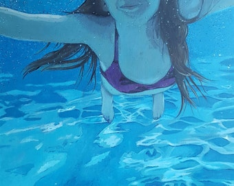 Custom acrylic painting, posterized effect