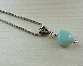 Amazonite Gem Heart Sterling Silver Pendant Necklace