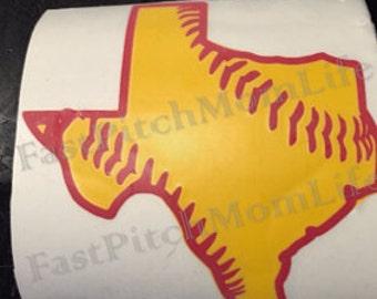 Texas Softball or Baseball Vinyl Car Decal