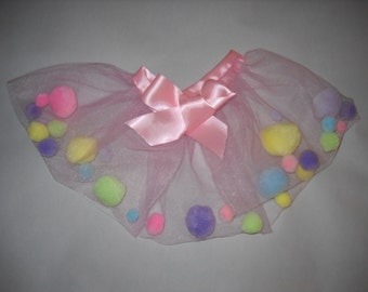 Pink Tulle, Pastel Pom Pom Tutu skirt with Pink Satin Ribbon Tie