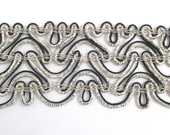 "Trim with Silver and Black Bullion Thread 2.75"" Wide, Sold by the Yard  -14398-2006t"