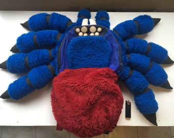 GIANT TARANTULA BACKPACK Deluxe Medium Orange Bottle Blue Tarantula Spider