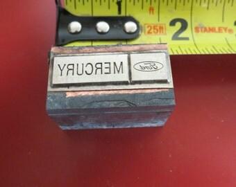 Vintage Zinc/Lead printing block- letterpress-Mercury logo