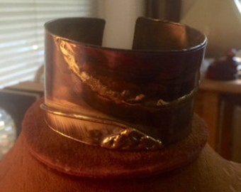 wonderful vintage copper and sterling silver cuff bracelet