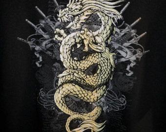 Golden dragon print t-thirt mens